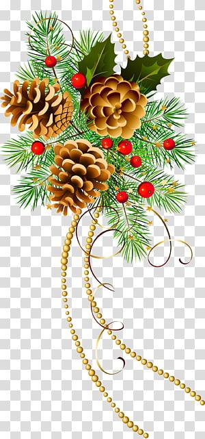 ilustração de árvore de férias verde, decoração de natal enfeite de natal árvore de natal, três cones de Natal com galho de pinheiro png