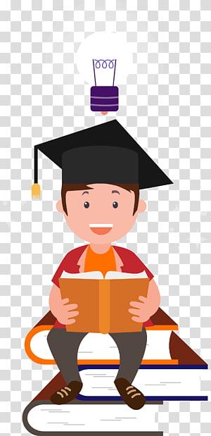menino, segurando, ilustração livro, estudante, leitura, estudo, dr, material PNG clipart