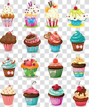 Ilustração de lote de dezesseis cupcakes, Cupcake Birthday cake Glacê Muffin Cartoon, material de copo de bolo de creme png