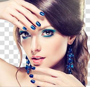 mulher com sombra azul, delineador de olhos cosméticos, delineador de lábios, moda maquiagem feminina bonita PNG clipart