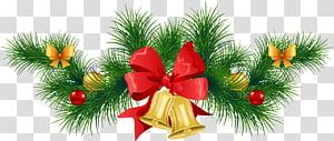 Enfeite de Natal Árvore de ano novo Julebord, guirlanda de pinheiros de Natal com sinos, guirlanda verde PNG clipart