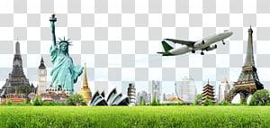 Ilustração da Estátua da Liberdade e da Torre Eiffel, Tour Package World Travel Agent, Creative Earth e canteiros de obras PNG clipart