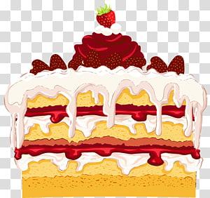 ilustração de bolo de 3 camadas com cobertura de morango, bolo de aniversário Cupcake Dessert Shortcake, bolo de morango png