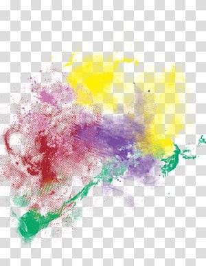 escova em pó, efeito de fumaça de pó de cor, respingo de pintura multicolorida png
