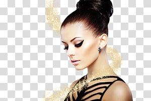 mulher vestindo preto sem mangas top, moda mulher cosméticos beleza delineador, maquiagem criativa beleza PNG clipart