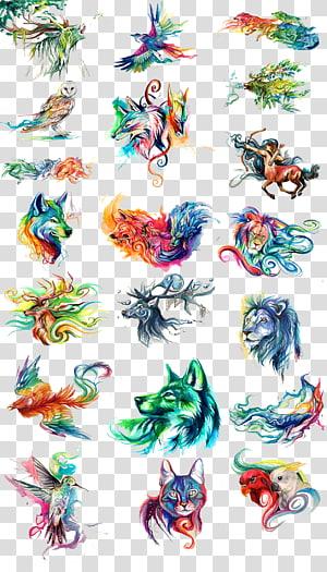 Pintura em aquarela, animais pintados em aquarela, cabeça animal multicolorida PNG clipart