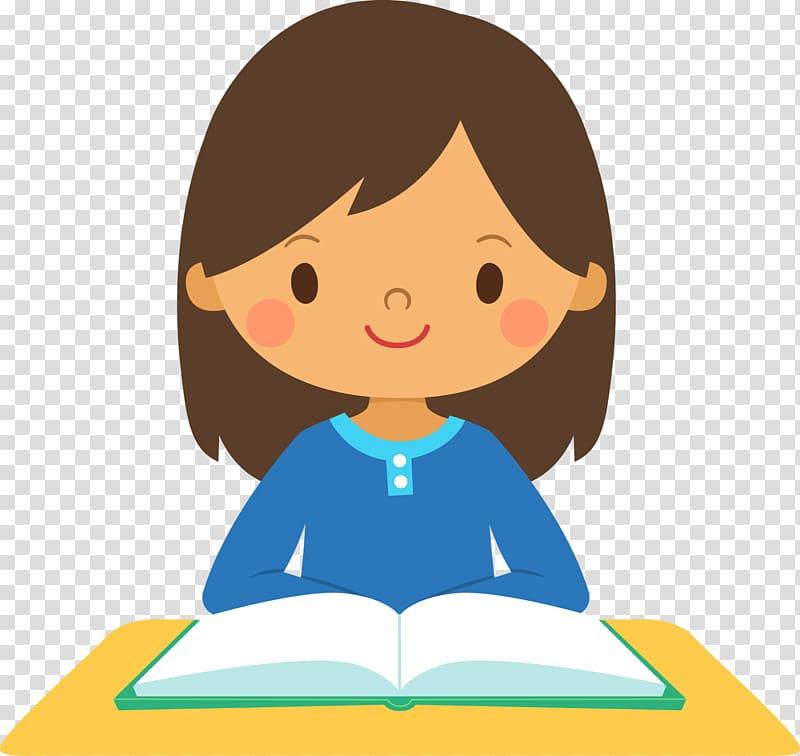 menina lendo livro ilustração, estudante menina escola, menina pensando s PNG clipart