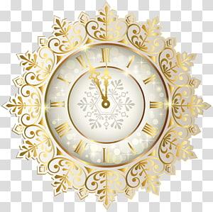 ilustração de relógio analógico de ouro e branco, relógio do longo agora ano novo, relógio de ouro ano novo png