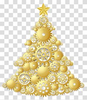 ilustração da árvore de natal, árvore de natal enfeite de natal dia de natal, árvore de natal ouro steampunk PNG clipart