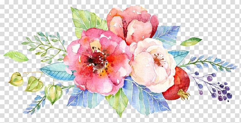 ilustração de flores de pétalas de rosa e branco, convite de casamento flor aquarela pintura design floral, bolo aquarela png