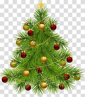 Árvore de Natal Árvore de ano novo, árvore de Natal com enfeites, árvore de Natal verde com ilustração de enfeites vermelhos e amarelos PNG clipart