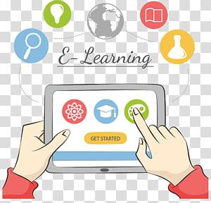 pessoa que usa a ilustração do computador tablet, e-learning do aluno Educação virtual à distância, curso de rede de aprendizado do Tablet PC PNG clipart