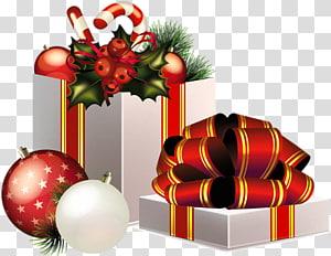 Presente de Natal Presente de Natal Papai Noel, decoração de presentes de Natal, caixa de presente cinza e ilustração de enfeites vermelhos PNG clipart