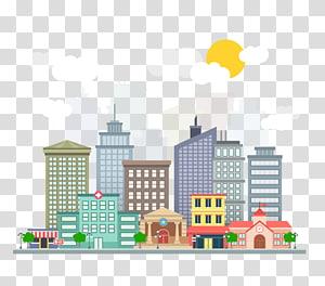ilustração animada de edifícios da cidade, Lucknow Smart Cities Mission Cidade inteligente Internet of Things Plan, edifício da cidade PNG clipart