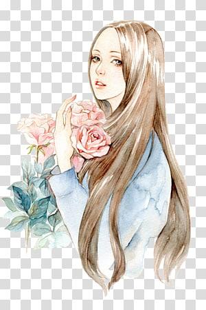 Desenho Flor menina Ilustração, Segurando uma menina flor, mulher segurando rosas ilustração PNG clipart