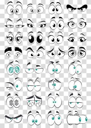 Cartoon Eye Comics, elemento de coleção de olhos de desenho animado, ilustração de olhos animados png