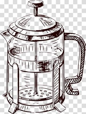 Desenho francês da imprensa do café do café, desenhos animados pintados xícara de café xícara de chá png