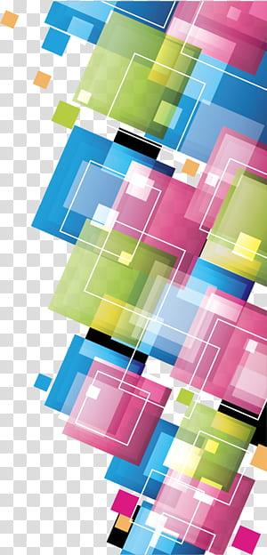 Modelo de quadrados coloridos, criativo Quadrados coloridos, arte digital rosa, verde e azul PNG clipart