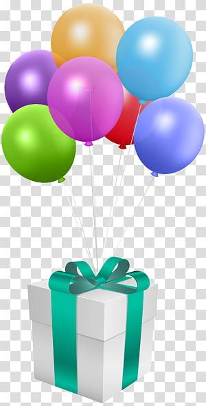 caixa de presente do balão, aniversário de presente de balão, presente com balões png