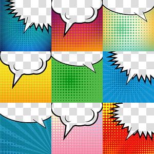 nove nuvens de texto em branco, quadrinhos balão de fala Pop art ilustração, bolhas coloridas PNG clipart