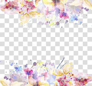 Convite de casamento modelo de flor, tinta aquarela pintada material floral, amarelo e rosa pétalas de flores png