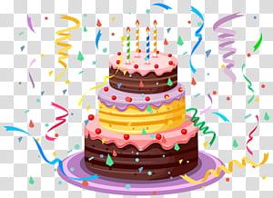 Bolo de aniversário, bolo de aniversário com confetes, ilustração de bolo de aniversário png