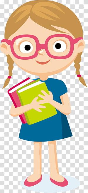 Estudante Cartoon, estudante, garota carregando dois livros ilustração PNG clipart