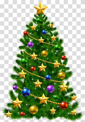 Decoração da árvore de Natal, Árvore de Natal Dia de Natal Papai Noel, Árvore de Natal com estrelas PNG clipart