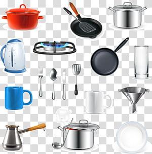 Utensílios de cozinha de várias cores, Utensílios de cozinha Panelas e assadeiras Aparelhos domésticos, cozinha png