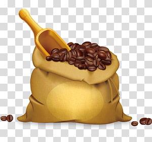 Saco de café, grãos de café pintados à mão png