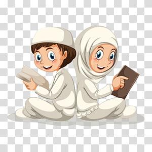 Quran Muslim Islam Illustration, Uma ilustração da figura muçulmana lendo a ilustração do Alcorão, menino e menina PNG clipart