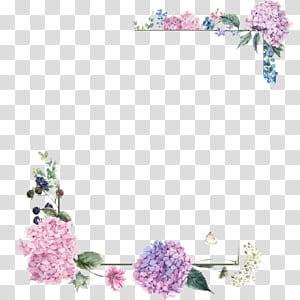 Buquê de flores Design floral, bordas de flor roxa, ilustração de quadro floral rosa e verde png
