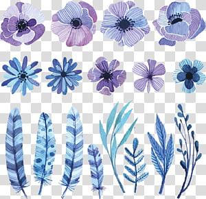 Flor Pintura em Aquarela Desenho Desenho, ilustrações de flores em aquarela, roxas, brancas e pretas de flores e penas PNG clipart