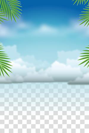 Férias de verão, material de fundo de treinamento de natação de verão, nuvens brancas PNG clipart