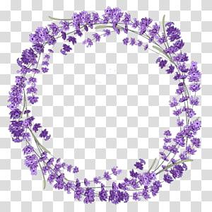 Grinalda de lavanda, material de grinalda lilás roxa, grinalda de flor lilás roxa PNG clipart