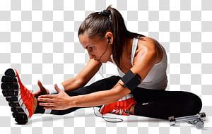 mulher, esticar, aproximar-se, dedo pé, enquanto, escuta música, através de fones de ouvido, aptidão física, centro fitness aptidão, treinador pessoal, equipamento exercício, saúde png