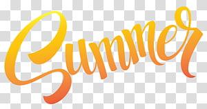 Verão, Sumer Text, texto de verão laranja na ilustração de fundo azul PNG clipart