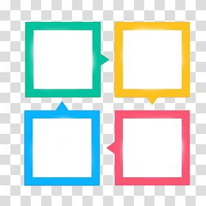 Ícone de gráficos escaláveis, caixa de diálogo, quadrado decorativo tipo PPT, quatro caixas de cores sortidas PNG clipart