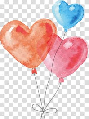 Pintura em aquarela, balão desenhado à mão em forma de coração, ilustração de balões laranja, azul e vermelho PNG clipart