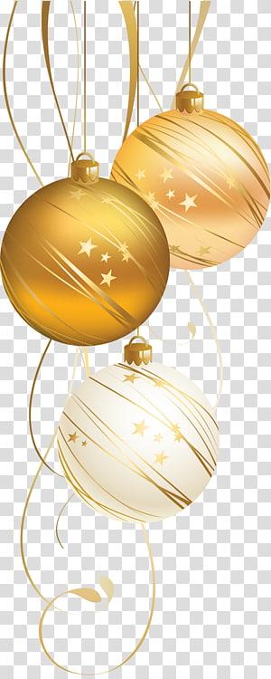 bugiganga branca e marrom, enfeite de natal, decoração de natal, ano novo, cartão de natal, bola de natal dourada png