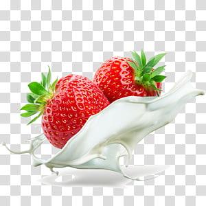 dois morangos vermelhos com leite, creme de suco de milkshake, efeito de creme de morango png