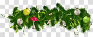 Decoração de natal Enfeite de natal, decoração de guirlanda de pinho de Natal, ilustração de decoração de guirlanda de Natal com tema verde e branco PNG clipart