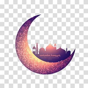 Mesquita do Islã lua muçulmana Ramadan, lua criativa e mesquita brilhante, ilustração de lua crescente PNG clipart