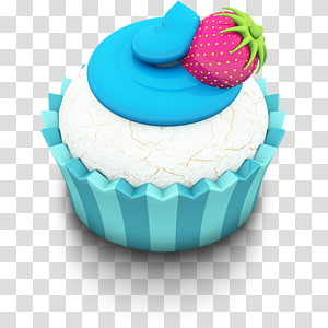 ilustração de cupcake com glacê e morango, decoração de bolo de confeiteiro, sobremesa de cupcake, Ocean Cupcake png