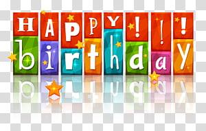 Bolo de aniversário feliz aniversário para você, feliz aniversário colorido com estrelas, sinalização de feliz aniversário png