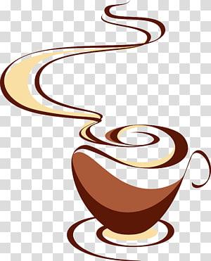 xícara de café na ilustração de pires, xícara de café Cappuccino Tea Cafe, mapa de café mão desenhada png