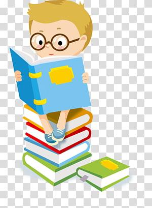 Criança lendo, estudante, menino sentado na pilha de livros enquanto lê a ilustração PNG clipart