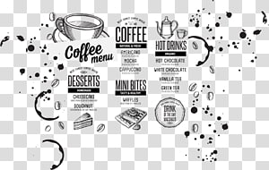 decoração da parede do café, menu do café do chá do Hamburger do café, menu de jantar png
