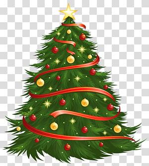 árvore de natal, tamanho grande decorada árvore de natal, árvore de natal com bolas vermelhas e amarelas e estrela PNG clipart
