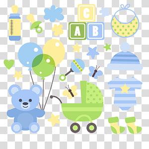 ilustração de roupas de cores sortidas do bebê, transporte de Baby Toy infantil, bebê PNG clipart